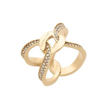 Michael Kors Gold Tone 'Brilliance' Pave Open Twist Ring Size 8