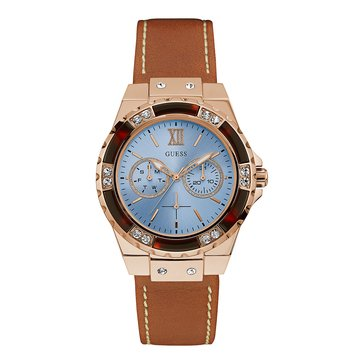 Guess Women's Sky Blue Dial with Leather Strap Watch, 38mm