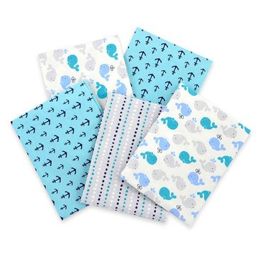 Gerber Baby Boys' 5-Pack Flannel Receiving Blanket, Whale