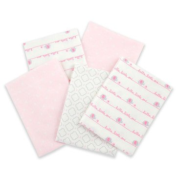 Gerber Baby Girls' 5-Pack Flannel Receiving Blanket, Hello Little One