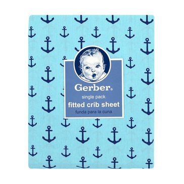 Gerber Baby Boys' Fitted Crib Sheet, Anchors