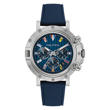 Nautica Men's Flags Chronograph Silicone Strap Watch 44mm