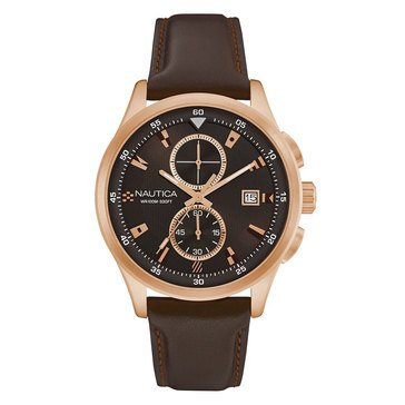 Nautica Men's NCT19 Flags Chronograph Leather Strap Watch 44mm