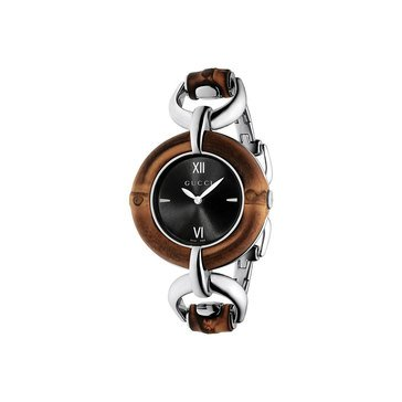 Gucci Women's Special  Purchase Bamboo Black Dial Stainless Steel Bangle Bracelet Watch 35mm