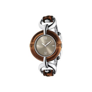 Gucci Women's Special Purchase Bamboo Dial Stainless Steel Bangle Bracelet Watch 35mm