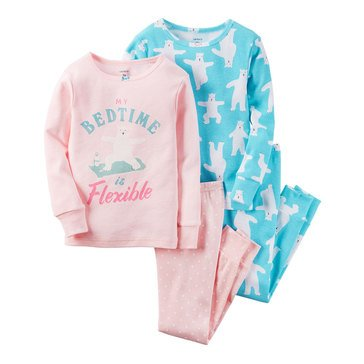 Carter's Big Girls' Yoga Bear 4-Piece Cotton Pajama Set