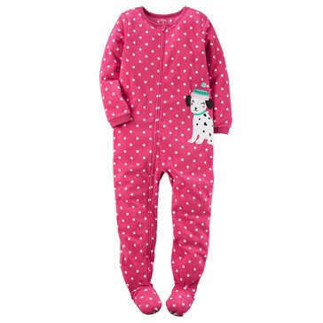 Carter's Little Girls' Fleece Dot Dog Pajamas