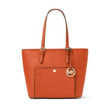Michael Kors Jet Set Item Medium Top Zip Snap Pocket Tote Orange