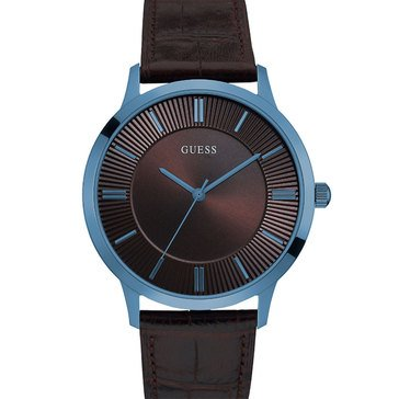 Guess Men's Leather Strap Watch 43mm