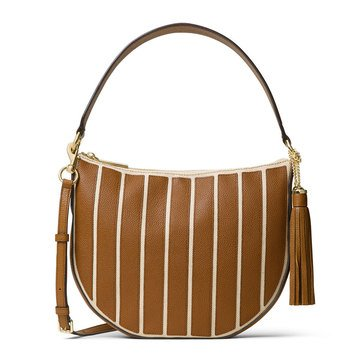 Michael Kors Applique Stripe Canvas Brooklym Medium Convertible Hobo Natural/Acorn