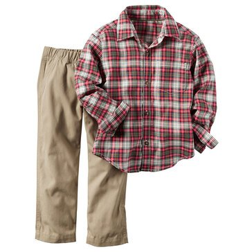Carter's Toddler Boys' Red Plaid Woven and Khaki Corduroy Pant, 2-Piece Set