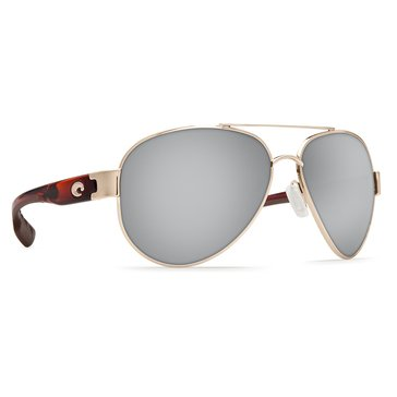 Costa Women's South Point Polarized Sunglasses SO 84 OSCP, Rose Gold & Tortoise/ Green Mirror 59mm