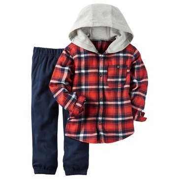 Carter's Toddler Boys' Red Plaid Hood and Blue Jogger, 2-Piece Set