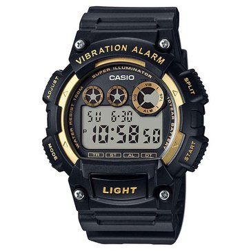 Casio Men's Vibration Alarm Digital Watch W735H-1A2V, Gold/ Black 51mm