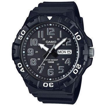 Casio Men's Diver Style Analog Watch MRW210H-1AV, Silver/ Black 50mm