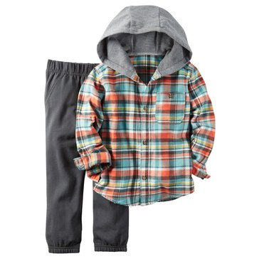 Carter's Toddler Boys' Turquoise Plaid Hood and Black Jogger, 2-Piece Set