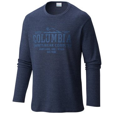 Columbia Men's Graphic Long Sleeve Navy Waffle Tee