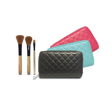 Cosmetic Bag & Brush Set GWP - Free with $50 Beauty Purchase - Blue