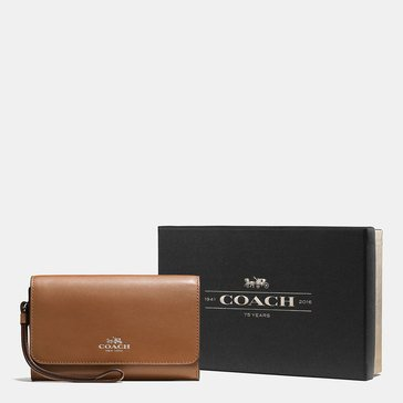 Coach Boxed Phone Clutch Saddle