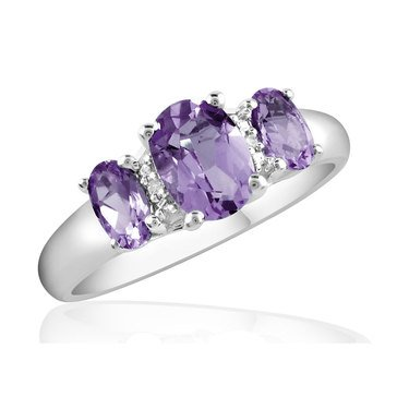 Amethyst & Diamond Ring, Sterling Silver