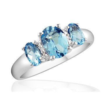 Special Purchase Sterling Silver Blue Topaz & Diamond Ring