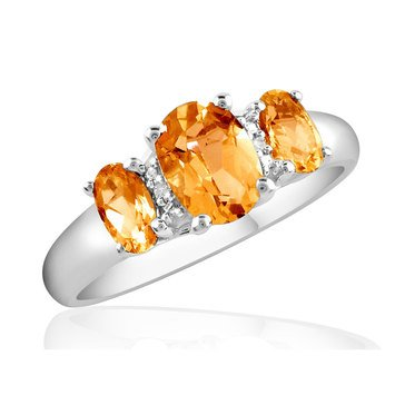 Special Purchase Sterling Silver Citrine & Diamond Ring