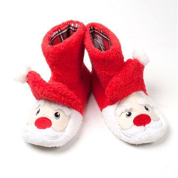 PJ Couture Sherpa Critter Boot Slippers Santa