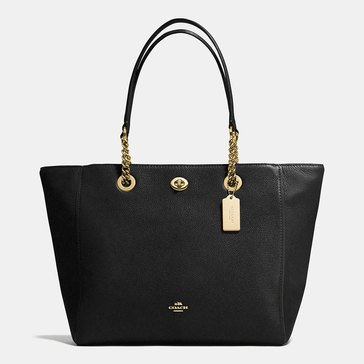 Coach Pebble Leather Turnlock Chain Tote Black