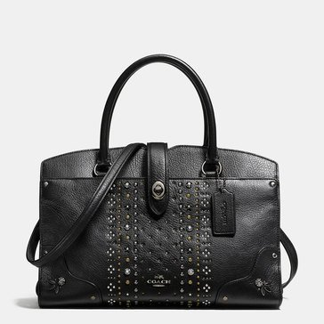Coach Bandana Rivet Mercer 30 Satchel Black