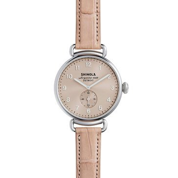 Shinola Women's Canfield with Nude Alligator Strap Watch, 38mm