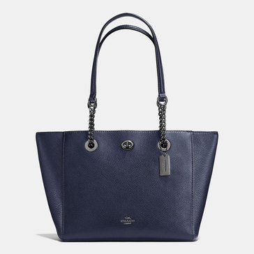 Coach Pebble Leather Turnlock Chain Tote 27 Navy
