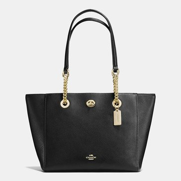 Coach Pebble Leather Turnlock Chain Tote 27 Black