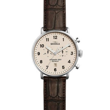 Shinola Men's Canfield Chronograph with Tan Alligator Strap Watch, 43mm