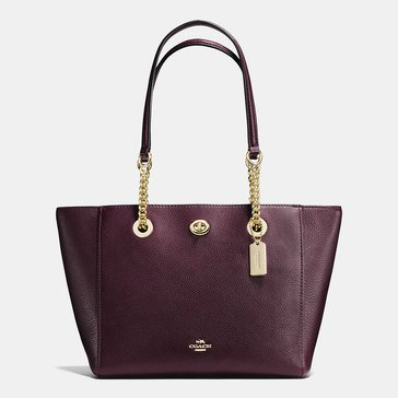 Coach Pebble Leather Turnlock Chain Tote 27 Oxblood