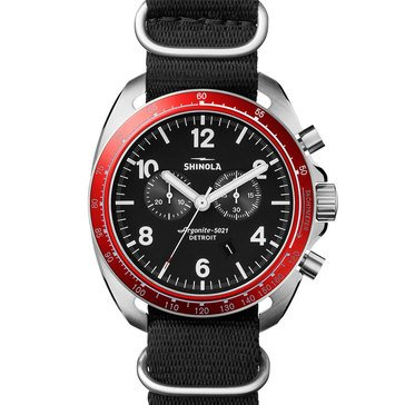 Shinola Men's Runwell Tachymeter Chronograph Black Nylon Strap Watch, 44mm