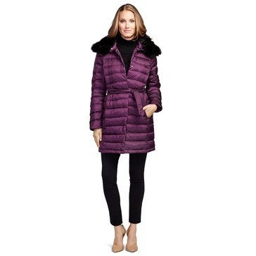 Brooks Brothers Long Puffer Coat With Detachable Faux Fur Collar