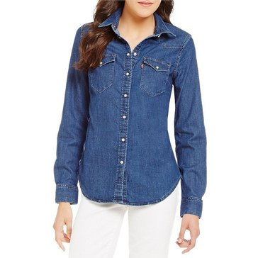 Levi's Women's Tailored Classic Denim Western Shirt in Medium Blue
