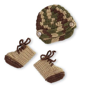 Mudpie Crochet Military Hat & Boot Set