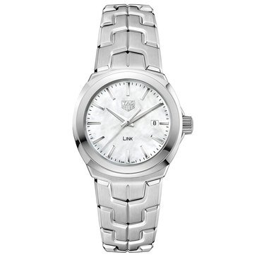 Tag Heuer Women's Link White Mother of Pearl/Fine Brushed and Polished Stainless Steel Watch, 32mm