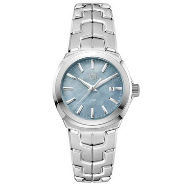 Tag Heuer Women's Link Blue Mother of Pearl/Fine Brushed and Polished Stainless Steel Watch, 32mm