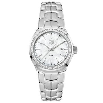 Tag Heuer Women's Link .67 Cttw Diamond Watch WBC1314.BA0600, White Mother of Pearl/ Fine Brushed and Polished Stainless Steel 32mm