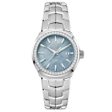 Tag Heuer Women's Link .67 Cttw Diamond Watch WBC1315.BA0600, Blue Mother of Pearl/ Fine Brushed and Polished Stainless Steel 32mm
