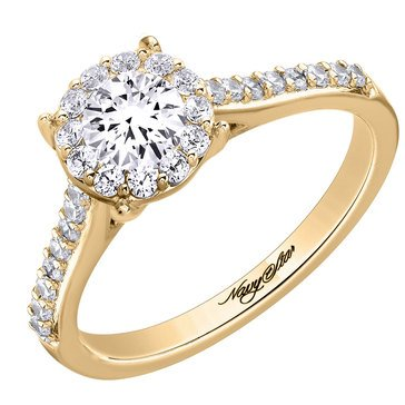 Navy Star 7/8 Cttw Halo Ring, 14K Yellow Gold