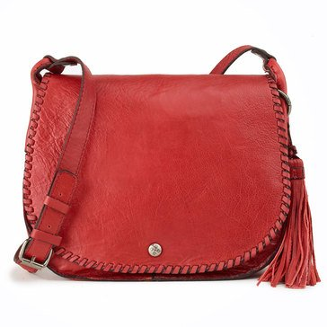 Patricia Nash Adria Veg Tan Saddle Bag Berry