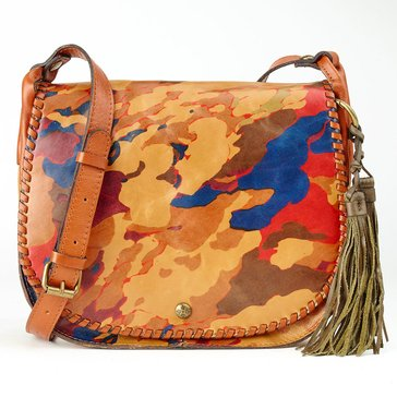 Patricia Nash Adria Veg Tan Saddle Bag Map Parisian Camo Print
