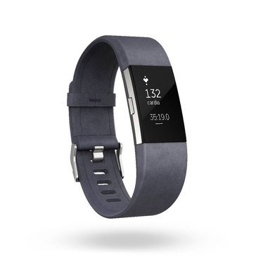 Fitbit Charge 2 Accessory Band - Leather - Navy - Large