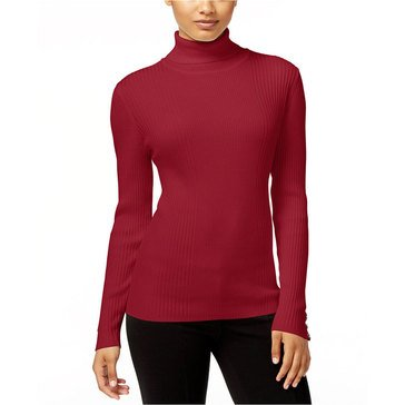 Style & Co Long Sleeve Rib Turtleneck Sweater in New Red Amore