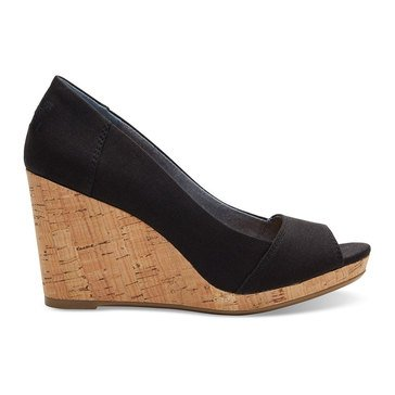 Toms Stella Wedge Women's Peep Toe Black Canvas