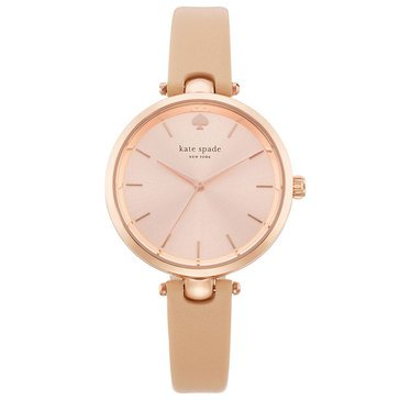 Kate Spade Women's Holland Rose Gold/Vachetta Leather Strap Watch, 34mm