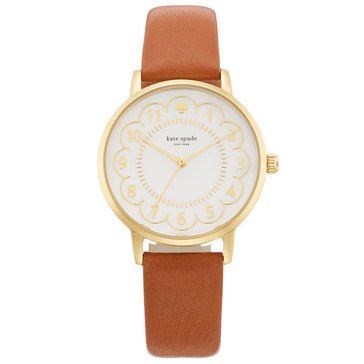 Kate Spade Women's Gold Metro Luggage Leather Strap Watch 34mm